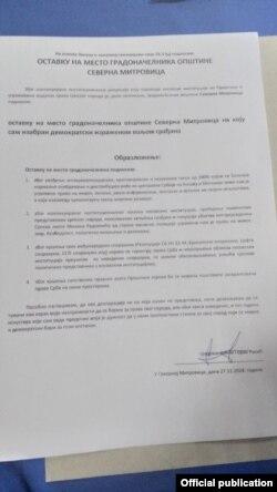 Dokumenti qe spjegon arsyet e dorëheqjes.