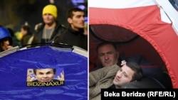 В знак протеста оппозиционеры не раз разбивали палатки на проспекте Руставели: слева – 17 ноября 2019 ода., справа – июнь 2009 года