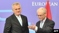 Presidenti i Serbisë Tomisllav Nikolliq dhe presidenti i Bashkimit Evropian, Herman van Rompei, Bruksel, 14 qershor, 2012