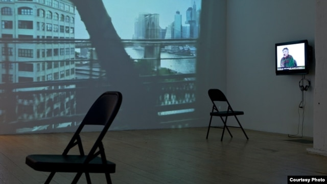 "A video installation in the Winkleman Gallery ""Brooklyn Bridge"" exhibition by Gulnara Kasmalieva and Muratbek Djumaliev in New York City"