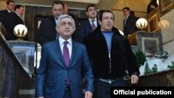 Armenia - President Serzh Sarkisian visits a new leisure center built by businessman Gagik Tsarukian (R) in Tsaghkadzor, 20Dec2017.
