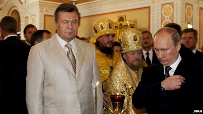 Виктор Янукович, митрополит Симферопольський и Крымский УПЦ (МП) Лазарь (Швец) и Владимир Путин. Севастополь, 2013 год