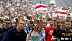 Протест в центре Беларуси. 14 августа 2020 года