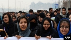 Women march in Kabul during a protest calling for an end to violence against women in Afghanistan and around the world in February.