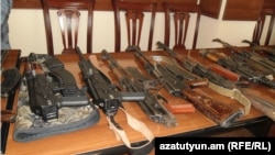Armeina -- Weapons confiscated from members of two rival groups in Gyumri, 30Apr2013.