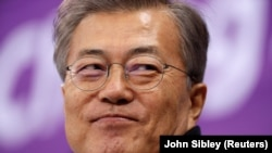 South Korean President Moon Jae-in at last month's Winter Olympics.