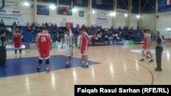 من لقاء المنتخب العراقي بكرة السلة امام نظيره الفلسطيني