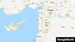 Suriya, Hələb və Hama şəhərlərinin xəritəsi