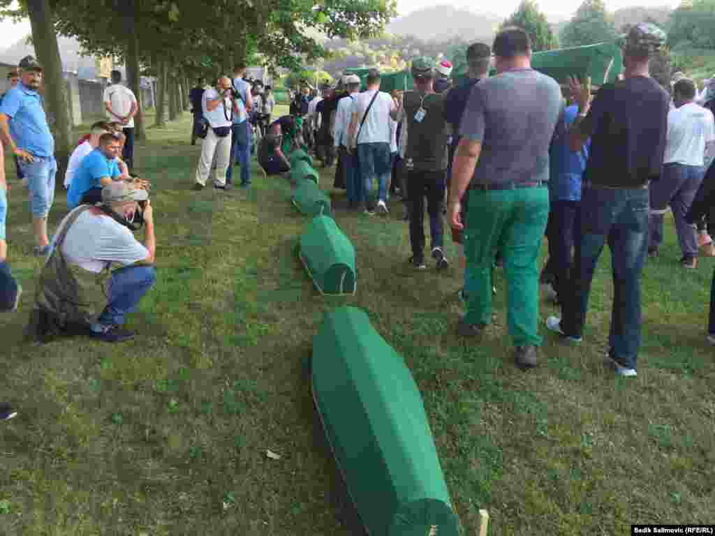 A quarter of a century after the Srebrenica genocide in Bosnia-Herzegovina, the remains of nine more victims were laid to rest at the Potocari memorial cemetery in a ceremony on July 11. (RFE/RL/Sadik Salimovic)