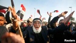 Demonstrație a sprijinitorilor clericului șiit Moqtada al-Sadr la Baghdad.