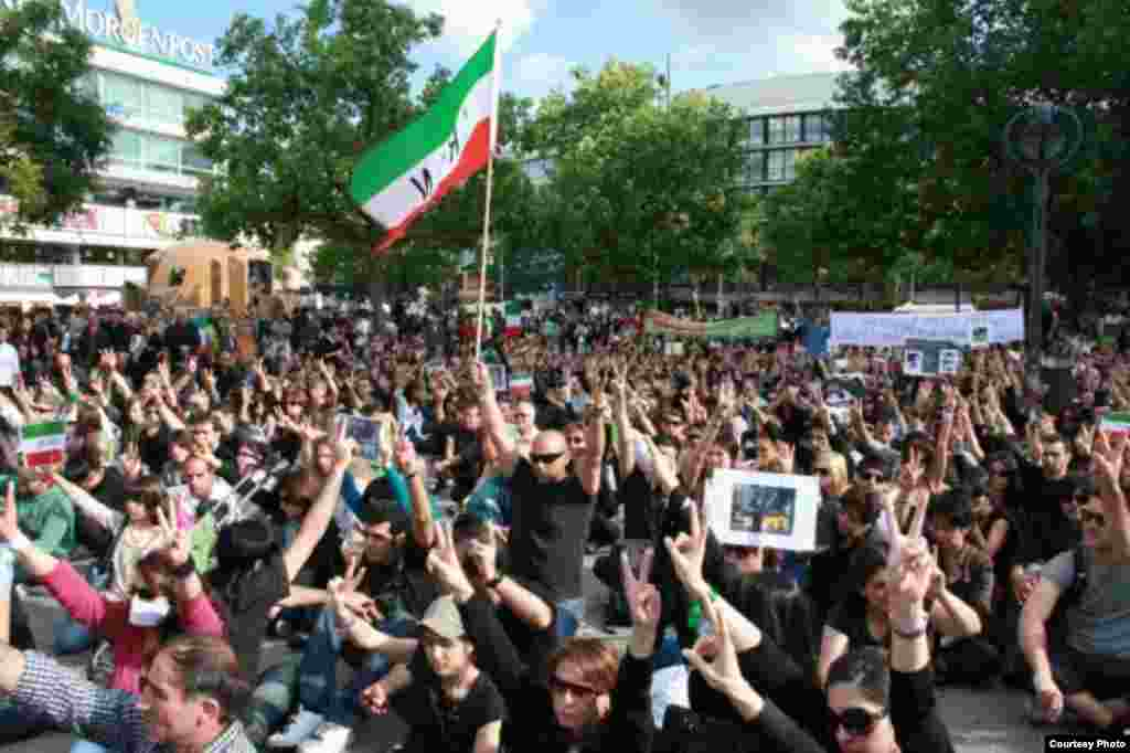 A street protest organized by the Network of Young Iranians in Berlin during the summer of 2009, in solidarity with the protests that broke out inside Iran after the disputed June election of Iranian President Mahmud Ahmadinejad.