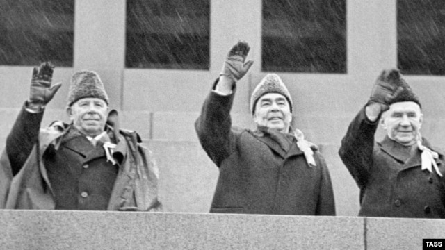 Late Soviet leader Leonid Brezhnev (center) with the president of the presidium of the U.S.S.R.'s Supreme Soviet Nikolai Podgorny and politburo member Andrei Kosygin during October Revolution anniversary celebrations in 1973.