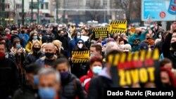 Protesti u Sarajevu zbog nenabavke vakcina protiv korona virusa, 6. april 2021.
