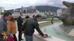 Цвеќе каде што специјалците го спречуваа протестот за Кежаровски