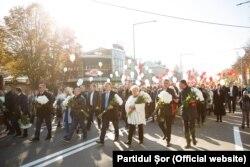 Hramul la Orhei. Autorități locale și fruntași ai Partidului Șor, în fruntea coloanei