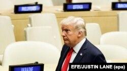 Președintele Statelor Unite, Donald Trump, le sediul central de la ONU