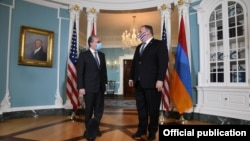 U.S. - U.S.Secretary of State Mike Pompeo meets with Armenian Foreign Minister Zohrab Mnatsakanian in Washington, October 23, 2020.