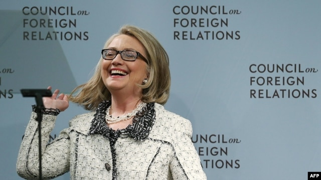U.S. Secretary of State Hillary Clinton laughs before delivering her final speech as secretary at the Council on Foreign Relations in Washington, D.C., on January 31, 2013.