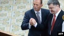 Австралия премьер-министры Тони Эббот (c), Украина президенты Петр Порошенко
