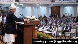 Президент Афганистана Ашраф Гани перед участниками Всеафганского совета старейшин (Лойя-джирга). Кабул, 7 августа 2020 года.