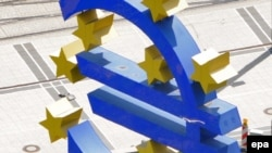 A euro currency sign outside the European Central Bank in Frankfurt