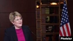 Глава армянской миссии Агентства по международному развитию США Карен Хиллиард представляет пятилетнюю программу Агентства, Ереван, 11 декабря 2013 г.