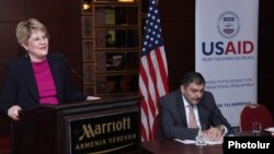 Armenia -- Karen Hilliard presents the USAID's 5-year strategy in Armenia, Yerevan, 11Dec2013.