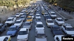 A traffic jam in Kabul, Afghanistan, in October.