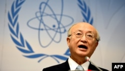 Yukiya Amano, director-general of the IAEA, speaks to journalists during his press conference of the IAEA board of governors meeting in Vienna last month.