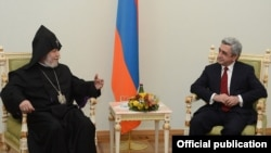 Armenia - Catholicos Garegin II (L) meets President Serzh Sarkisian to congratulate him on winning a second term, Yerevan, 19Feb2013.