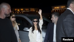 U.S. TV celebrity Kim Kardashian with her security detail on a recent visit to Yerevan