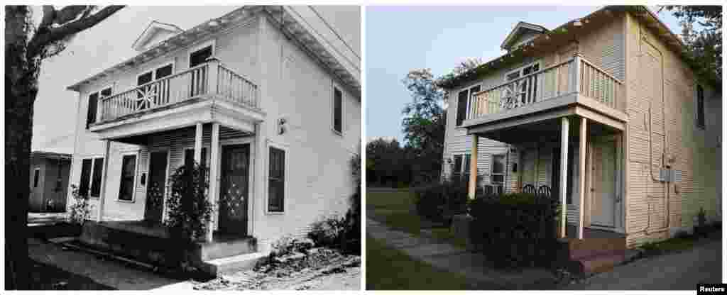 Left photo: The former residence of Lee Harvey Oswald at 214 West Neely Street in the Oak Cliff neighborhood of Dallas, Texas, in 1963. Right: The same site on November 12, 2013.