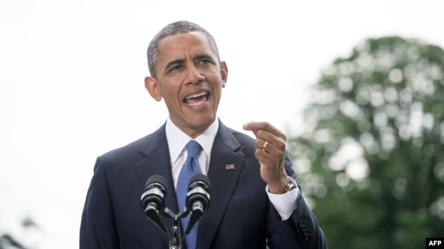 U.S. President Barack Obama makes a statement on the situation in Iraq on the South Lawn of the White House on June 13.