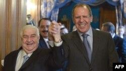 Валід аль-Муаллем (л) і Сергій Лавров (п) на зустрічі в Москві, 17 січня 2014 року