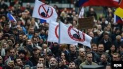 Sa protesta protiv dolaska muslimana u Evropu, Prag, oktobar 2015.