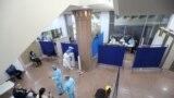 Республика сарайының жаппай вакциналау орнына айналған концерт залы. Алматы, 2 сәуір 2021 жыл.
