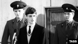 In September 1987, Mathias Rust goes on trial in Moscow for illegally landing near Red Square.