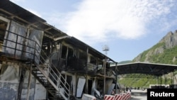 A burned-out Kosovo police border post, which was attacked by members of the region's Serbian minority last week.