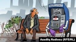 Bankomat. Karikatura