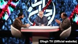 "IRIB's controversial commentators Mohammad Sadegh Koushki (R) and Nader Talebzadeh (C), in an episode of the ""Jahan Ara"" program, produced by IRIB's Ofogh TV."