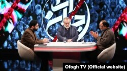 IRIB's controversial commentators Mohammad Sadegh Koushki (R) and Nader Talebzadeh (C), in a Jahanara program, produced by IRIB's Ofogh TV.