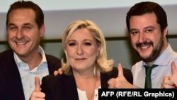 Soldan sağa: Heinz Christian Strache, Marine Le Pen və Matteo Salvini