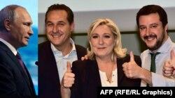 Колаж. Путін і проросійські політики з Європи. Штрахе з Австрії, Ле Пен із Франції, Сальвіні з Італії