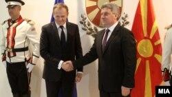 Presidenti maqedonas, Gjorge Ivanov takohet me kryetarin e Këshillit Evropian, Donald Tusk, në Shkup, më 2 mars 2016