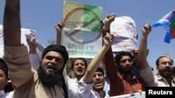 Supporters of the Islamist Pakistani party Jamaat-e Islami protest against an online competition to draw pictures of the Prophet Muhammad on Facebook in Peshawar in 2010. Facebook also faced a temporary ban.