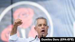 Democratic Party leader Vladimir Plahotniuc speaks at a rally in Chisinau on June 9.