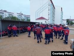 Рабочие Industrial Service Resources. Мангистауская область, 28 июля 2021 года