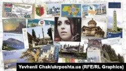 Почтовые марки и блоки о Крыме. Коллаж