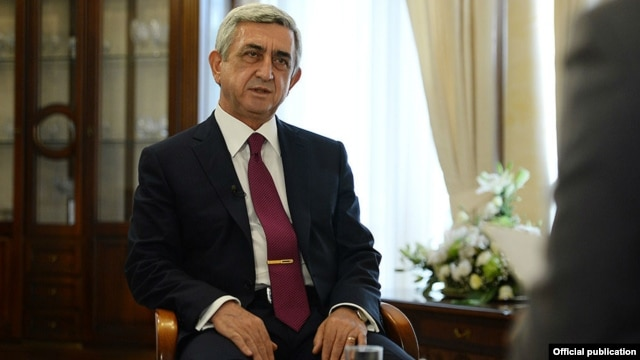 Armenia - President Serzh Sarkisian is interviewed by Armnews TV, Yerevan,10Aug2014