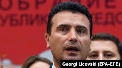 Zoran Zaev parlamentdəki səsvermədən sonra, 19 oktyabr, 2018-c il